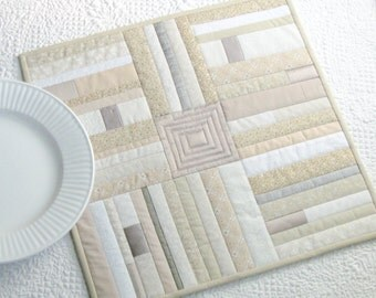 White and cream table runner, white patchwork table topper with silver accents