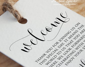 Instant Download - Wedding Welcome Tag - DIY - Edit it Yourself
