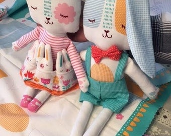 Sew your own Spring Bunny Dolls - Panel includes fabric for bunny dolls and clothing by Stacy Iset Hsu for Moda