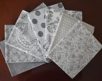 Maven Fat Quarter Bundle of 8 in Gray by BasicGray for Moda