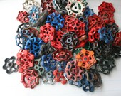 Vintage Faucet  Handles-70 Handles-Super Mixed Batch- Blue ,Red,Silver,orange,green-Less than 1 Buck per Handle-Steampunk,Industrial