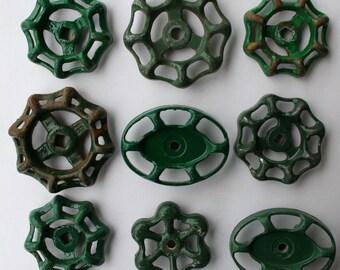 Valve handles- 9 Shabby Chic -Green Patina-Garden Spigot Handles-shipping special- Water Knobs-Funky Metal Handles