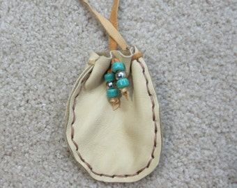 Tan Deerskin Pouch, Native American Leather Necklace Pouch, Leather Possibles Bag, Dance Regalia, Leather Medicine Necklace Pouch #P13