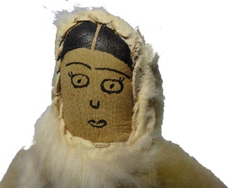 """Antique Eskimo Inuit Handmade Leather & Fur 6"""" Doll w/ Hand Painted Face"""