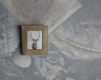 antler deer stag trophy leather brooch - grey taupe animal brooch - gift for her - minimal brooch - leather neutral brooch - gift for her