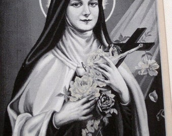 SALE Stunning Antique French Framed Neyret Freres Stevengraph, St. Therese Of The Child Jesus Approved by Carmel de Lisieux