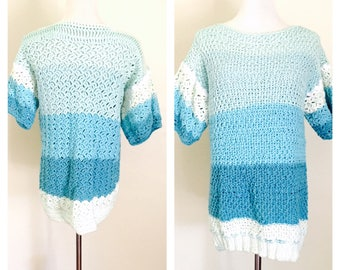 Oversized Blouse, knitted & Crochet Blue/White ombre Stripes, Hand Made in the U S A,  item no. Bde011