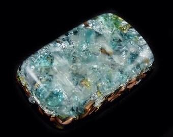 Blue Apatite Pocket Orgonite® with Arkansas Crystals, Fluorite, Rhodizite, Phenacite, Petalite, Selenite, Tourmaline, Elite Shungite (w23)