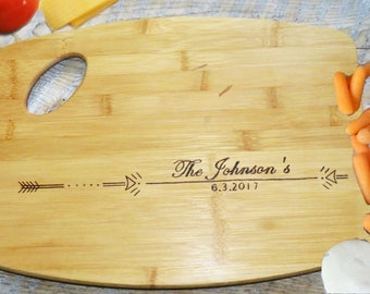 Personalized Wood burned Cutting Board Arrow Design