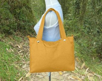 Golden canvas fabric bag, canvas shoulder bag, messenger bag, school bag, travel bag, multipurpose bag for men and women