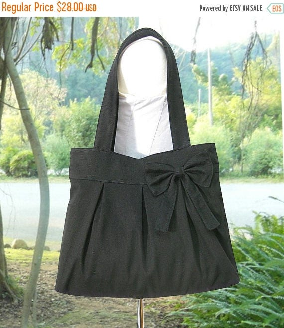 Fathers Day Sale 20% off black cotton fabric purse with bow / canvas tote bag / shoulder bag / hand bag / diaper bag - zipper closure