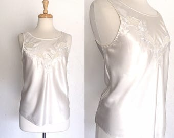 FREE SHIPPING//Silk and lace top//white lingerie blouse//size medium large