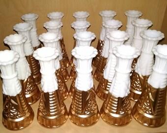 20 Gold Dip Milk Glass Bud Vases