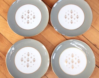 """4 LENOX Glendale Plates X559 7"""" Olive Green Gold Flowers MID CENTURY 50s 60s"""