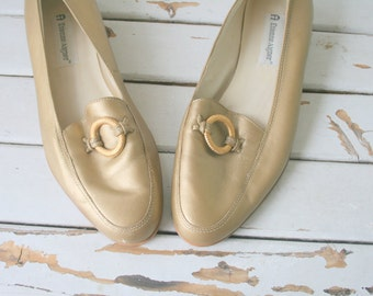 1980s Vintage ETIENNE AIGNER Golden Leather Loafers..size 8 womens..designer. shoes. aigner. mod. classic. librarian. secretary. nautical