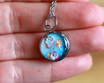 THREE MERMAIDS PENDANT (Small and Medium) - Handmade resin pendant with stainless steel chain - Perfect for little or big girls