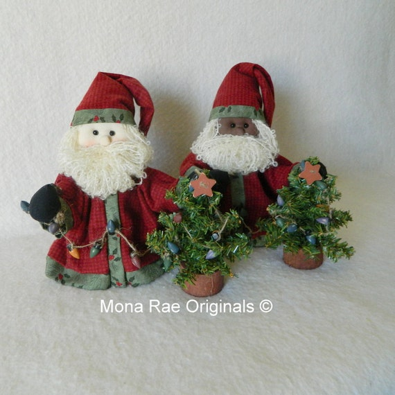 Santa Doll -  Lil'Santa ~ 9 Inch Tall Santa in Brown or White ~ Decorated tree included