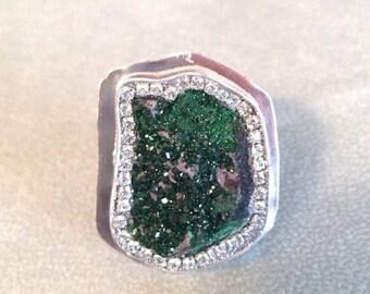 SUPER SALE Sparkling Uvarovite Sterling Silver ring OOAK