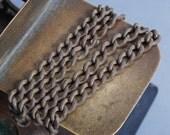 Antique brass  chain original dark  patina