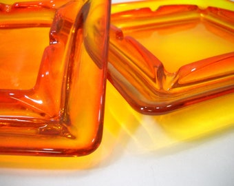 Vintage Orange Glass Retro Ashtray Set Of 2