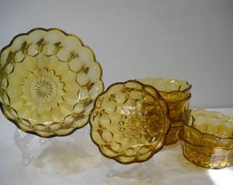 Vintage Glass Berry Salad Bowl Set Amber Scalloped Edge 8 Piece Set