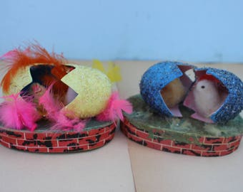 Vintage Pair of Paper Mache Eggs with Spun Cotton Chicks, Japan, Bricks