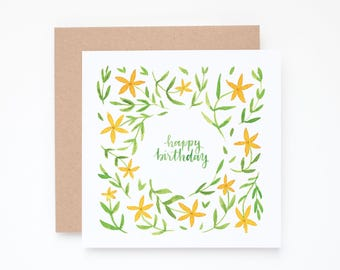 Floral birthday card, happy birthday card, birthday card, happy birthday, botanical birthday card, birthday notecard, birthday note card