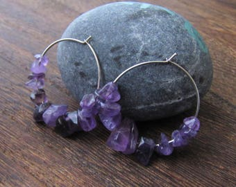 Amethyst Earrings, Amethyst Crystal, Amethyst Hoops, Amethyst Gemstone, Hoop Earrings, Energy Healing, Orgon Charged, February, Aquarius
