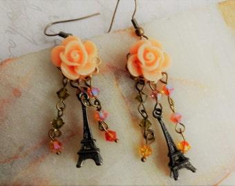 Paris Earrings, Eiffel Tower Earrings, Paris Roses, Roses and Paris Jewelry, Peach Rose Earrings