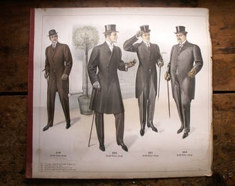 Antique Tailor's Sample Book Page - Top Hats and Tails Bespoke Suiting from Kutteru, 1911