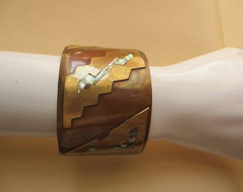 Vintage Copper Lightning Bolt Abalone Cuff Bracelet