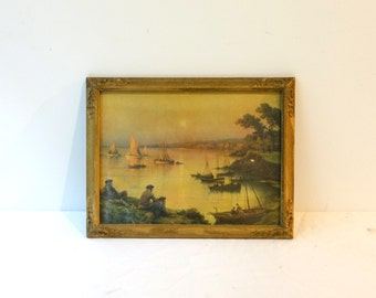 Vintage early 20th century seascape print in ornate plaster gilt frame, ships on harbour at sunset print