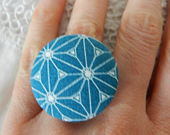 Adjustable ring in japanese stars fabric