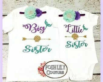 Big sister mermaid shirt, Little sister mermaid bodysuit, big sister mermaid top, little sister bodysuit, glitter mermaid big sister outfit
