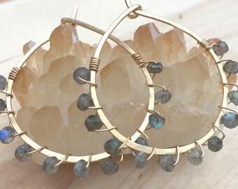 Labradorite Hoop Earrings, Labradorite Gold Hoops, Grey Stone Earrings, Stone Wrapped Earrings, Gemstone Earrings, Labradorite Earrings