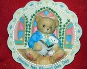 """Enesco Cherished Teddies - #303186 """"Heaven Has Blessed This Day"""" for Boy Plaque Retired With Box"""