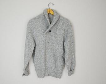 Pre-Christmas SALE - Vintage 80s Heather Oatmeal Gray Wool Shawl Neck Sweater // mens small womens medium- unisex