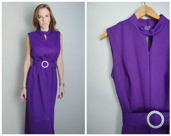 vintage 60s purple long maxi sleeveless evening gown dress -- womens medium --40-32-46