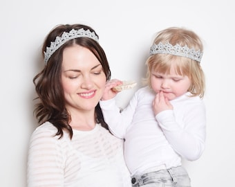 Silver Crown Headband Set, Mother Daughter Matching Headband Set, Flower Girl Crown, Princess Crowns, Birthday Crowns, Cosplay Headpiece