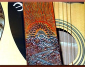 SUNSCAPE II Design • A Beautifully Hand Tooled & Completely Hand Crafted Leather Guitar Strap