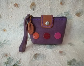 Genuine Leather Coin Purse , leather coin pouch, Mini Zipper Pouch, Leather Purple Pouch, Small Coin Wallet