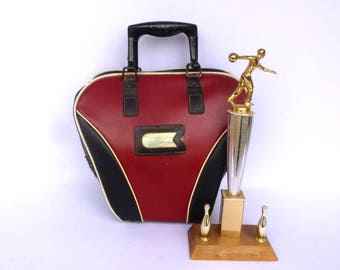 RED and Black Retro BOWLING BAG