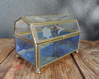 Brass and Glass Domed Box Mid Century Glass Dome Box Brass Glass Box Etched Glass Trinket box Air Plant Box Jewelry Box
