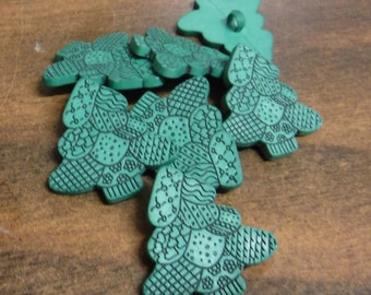 15 Green Patchwork Tree Shank Buttons Size 1 1/16""