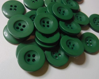 16 Olive Green Fat Rim Round Buttons Size 3/4""