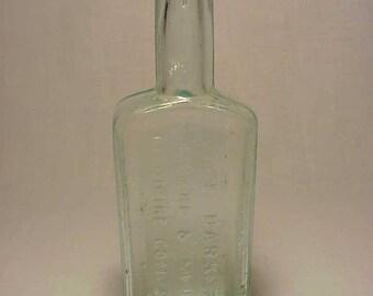 c1880s The Barker Moore & Mein Medicine Company Philadelphia, PA. , Aqua Cork Top Blown Glass Medicine bottle No. 3