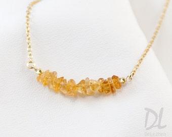 Citrine Necklace - November Birthstone Necklace - Raw Stone bar Necklace - Gemstone Bar Necklaces - Layering Necklace - Minimal
