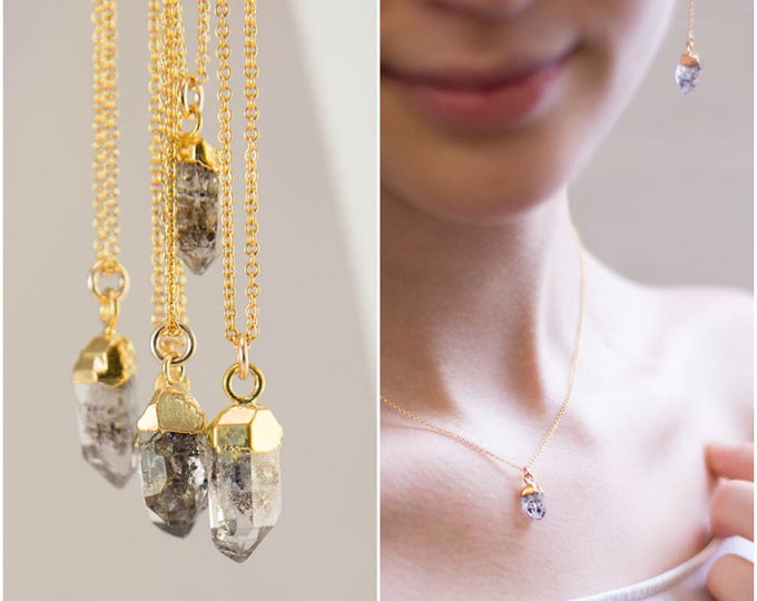 Featured listing image: Raw Diamond Necklace - Herkimer Diamond Necklace - April Birthstone Necklace - Raw Stone Necklace - Layering Necklace - Gold Necklace
