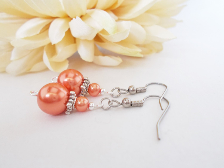 coral pearl earrings coral bridesmaids earrings gift