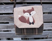 Fox crossbody bag, fox messenger bag, red fox purse, fox totebag, recycled wool